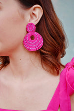 Hot Pink Beaded Drop Earrings