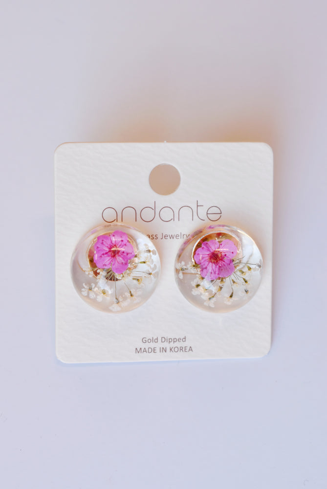 Flower Dome Stud Earrings