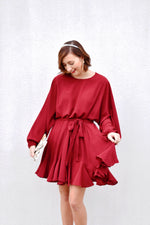 Red Ruffle Frill Dress With Tie Waist