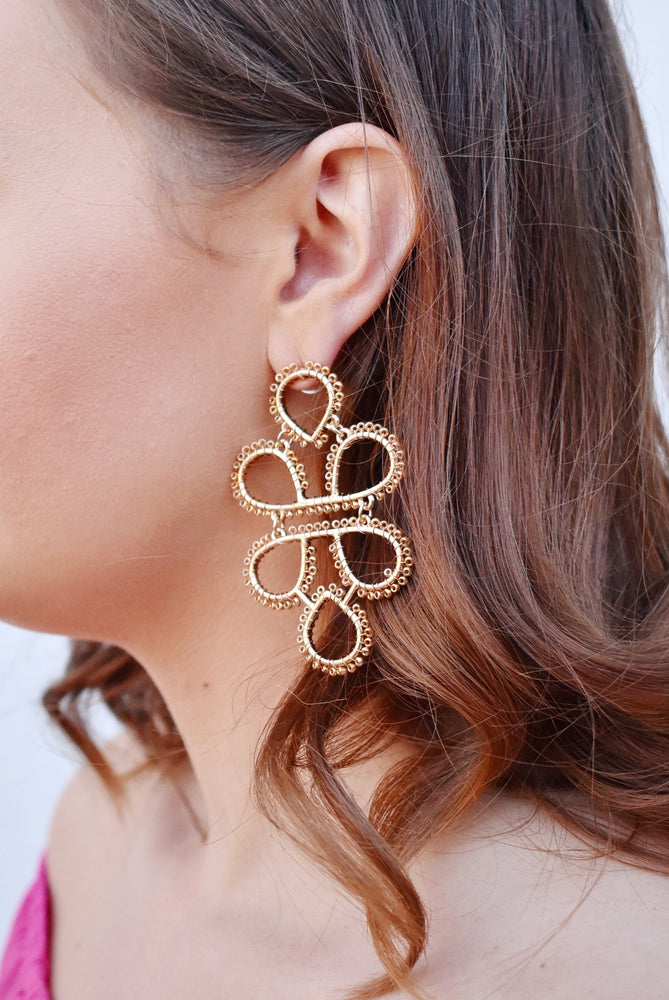 Gold Infinity Knot Seed Bead Earrings