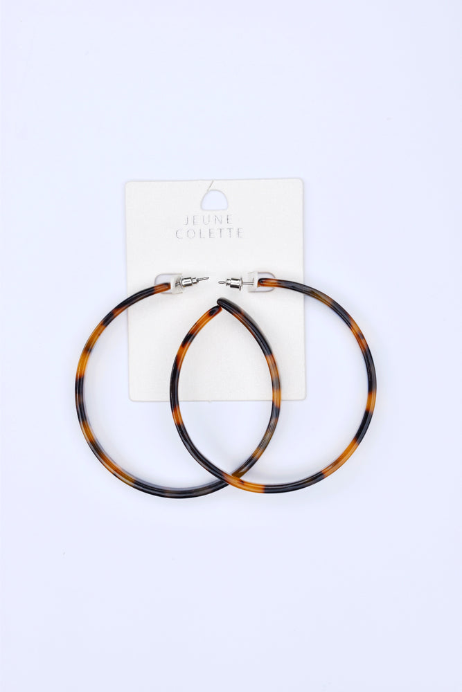 Tortoise Acrylic Hoop Earrings