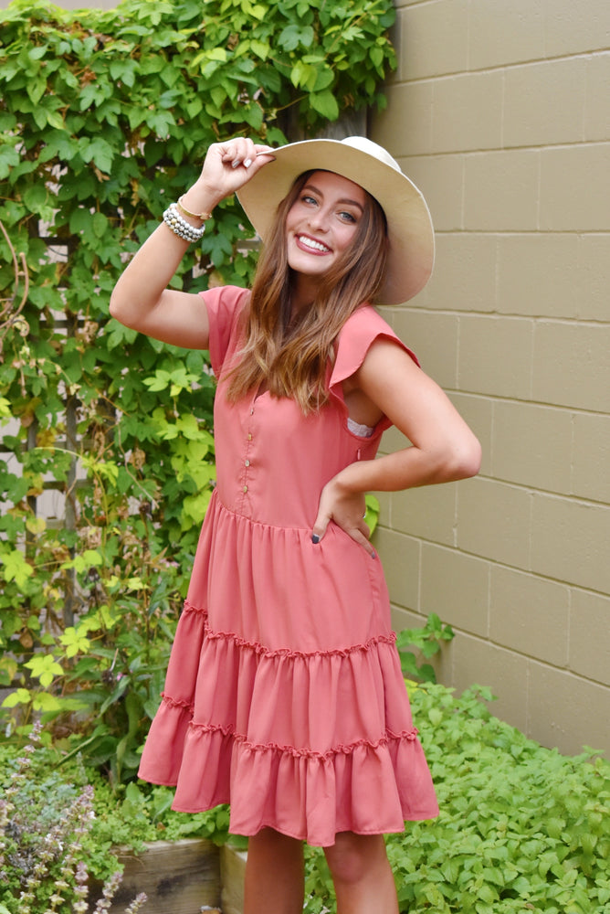 Marsala Tiered Ruffle V-Neck Dress
