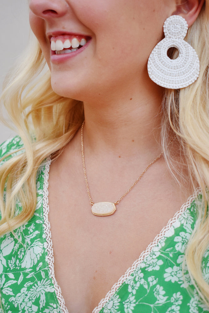 Ivory Druzy Hexagon Necklace