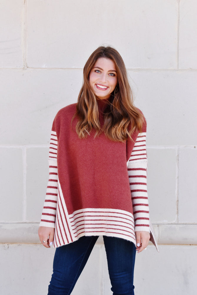 Pumpkin Spice Striped Poncho Sweater