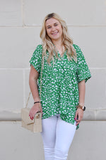 Kelly Green Animal Spot Blouse