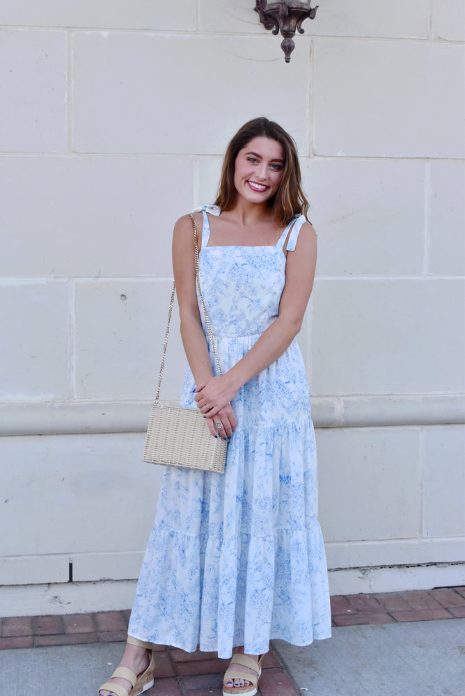 Chinoiserie Tie Strap Midi Dress