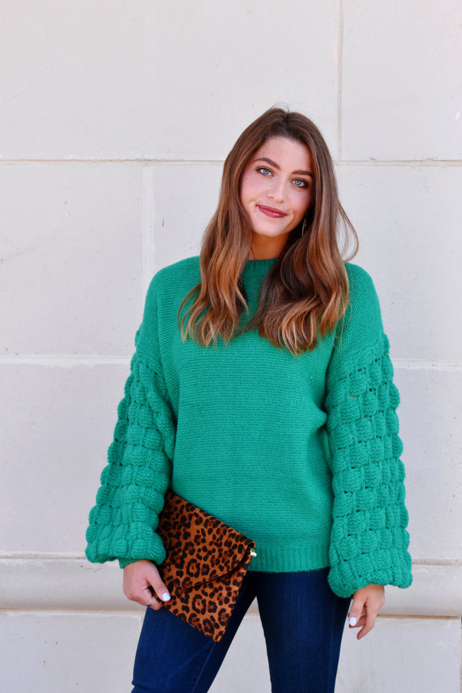 Kelly Green Bubble Sleeve Sweater