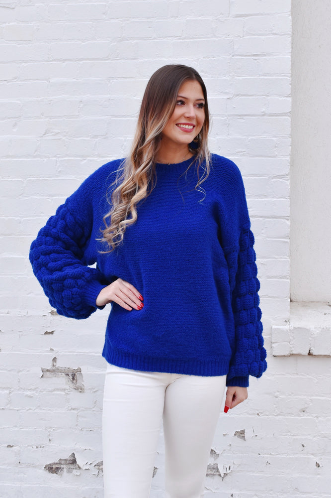 Cobalt Blue Bubble Sleeve Sweater