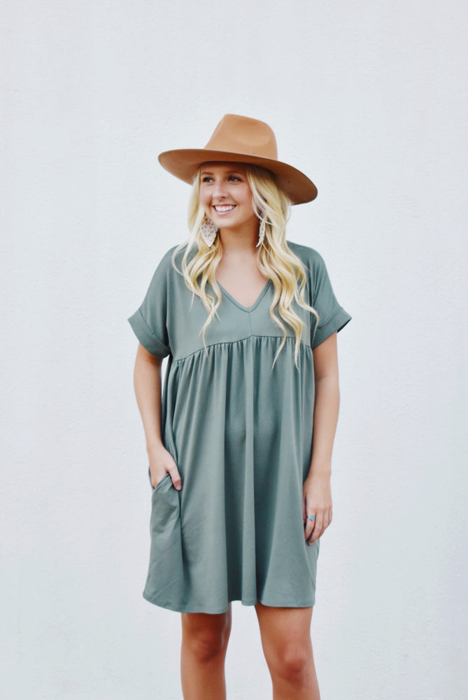 Army Green Babydoll T-Shirt Dress