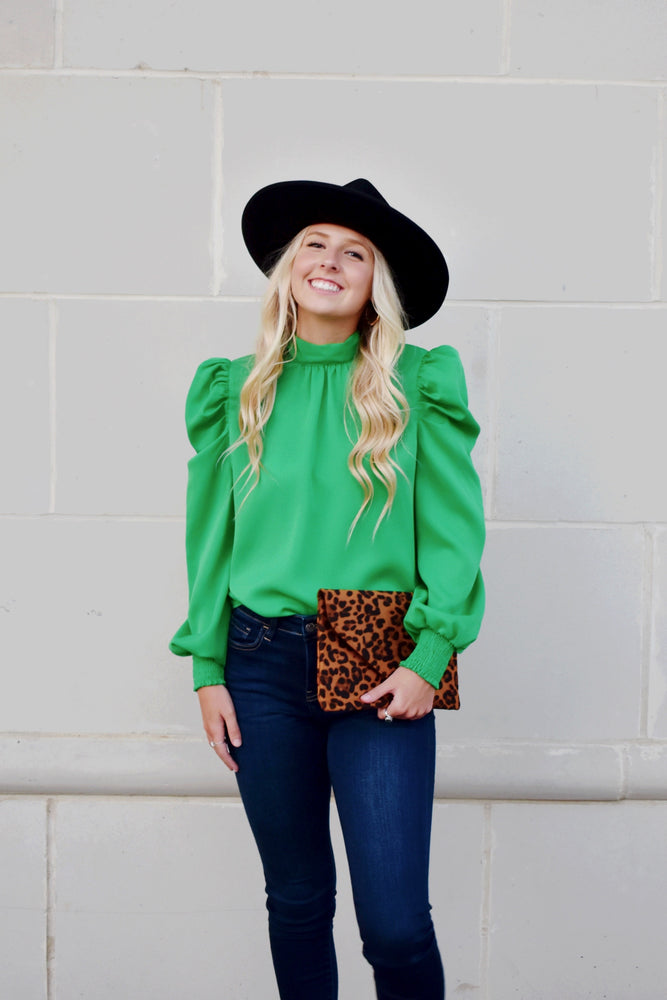 Bow Back Kelly Green Blouse
