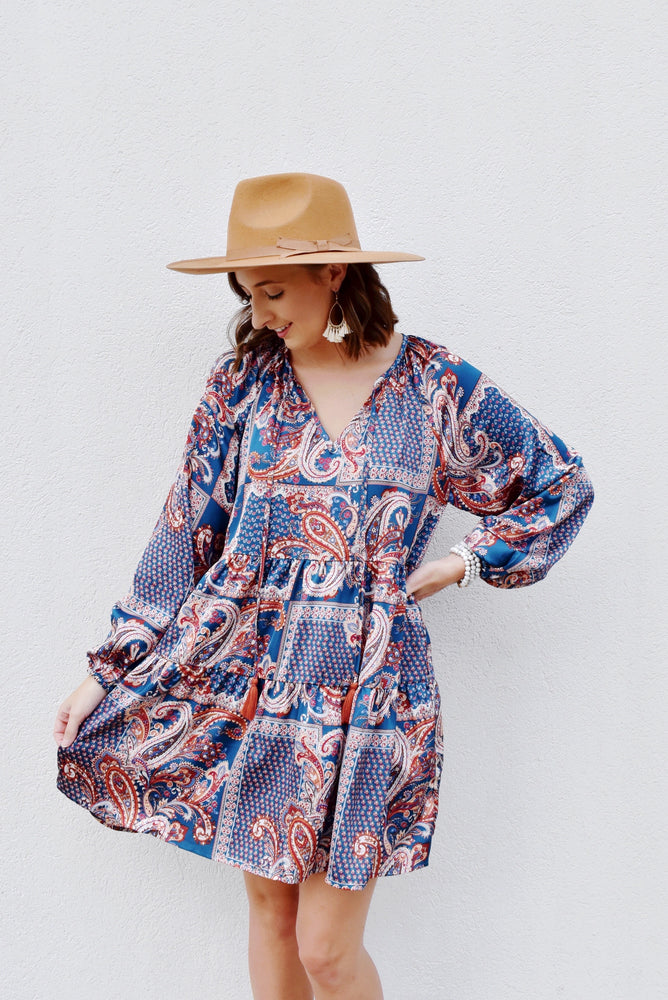 Paisley V-Neck Tassel Dress