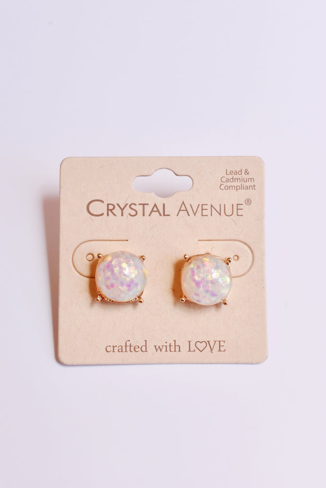 Confetti Sparkle White Earrings