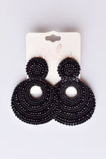 Black Beaded Drop Earrings