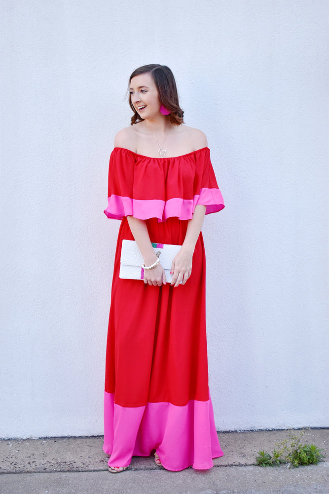 Pink and Red Maxi Dress