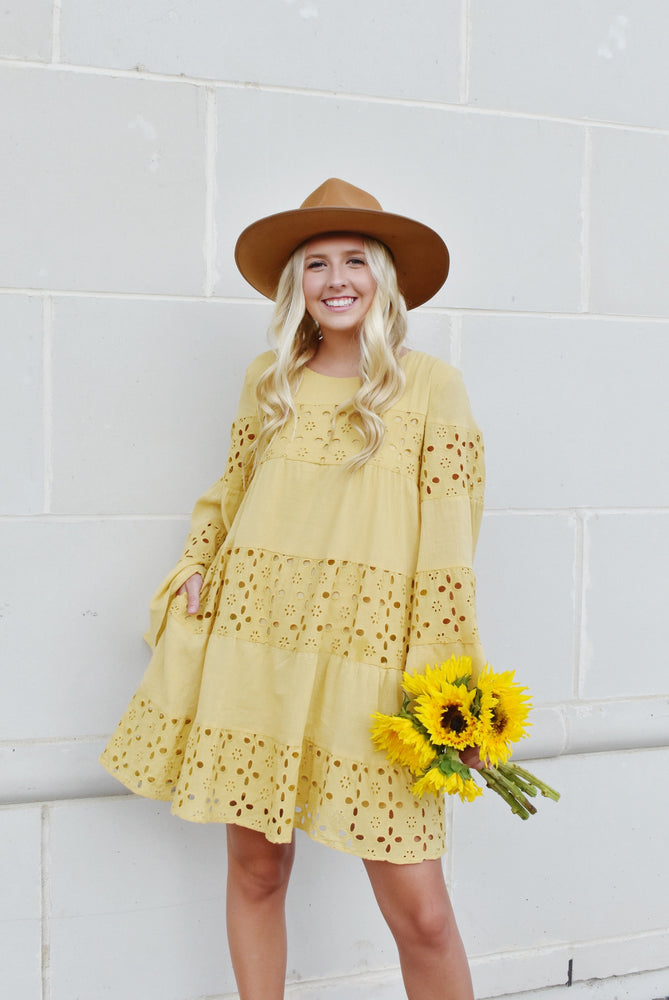Mustard Bell Sleeve Babydoll Dress