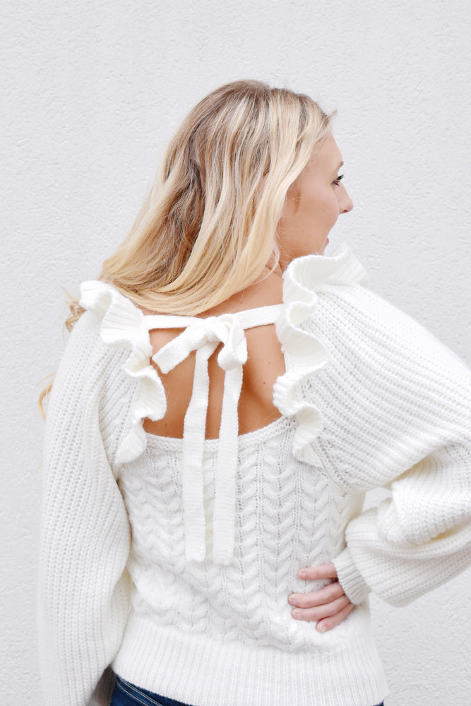 Ivory Ruffle Shoulder Cable Knit Sweater