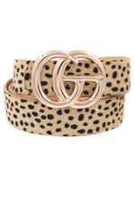 Gold Double G Leopard Spot Faux Fur Belt