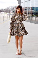 Leopard Ruffle Swing Dress