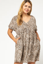Plus Leopard Babydoll Dress With Pockets