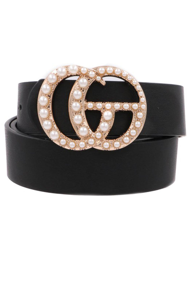 Pearl Double G Black Faux Leather Belt