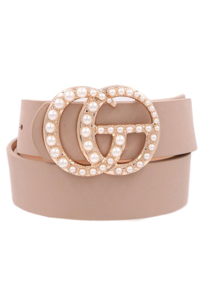 Pearl Double G Taupe Faux Leather Belt