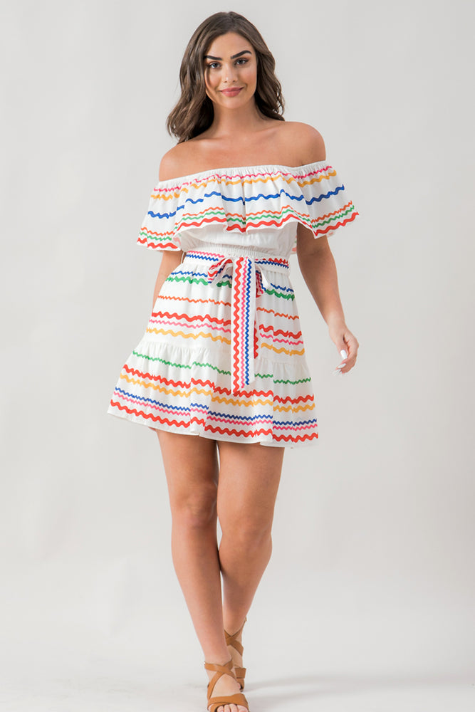 Ric Rac Printed Off Shoulder Dress
