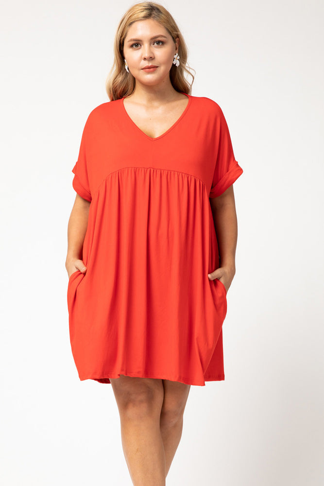 PLUS Tangerine Babydoll T-Shirt Dress