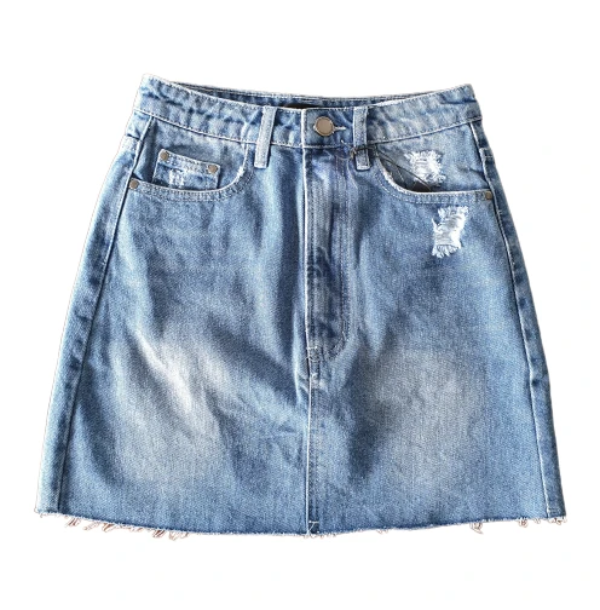 Fray Denim Mini Skirt