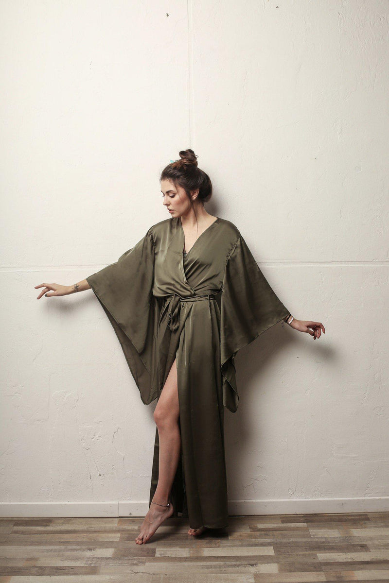 Kimono Sleeves Silk Long Robe - Okiya Studio | Sleepwear, Homewear, Lingerie, Home Textiles