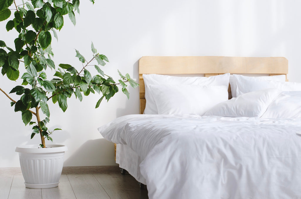 Full 4-pieces White Bed Linen Cotton Set - Okiya Studio | Sleepwear, Homewear, Lingerie, Home Textiles