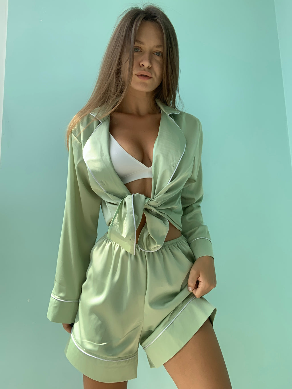 Pistachio silk pajama set (shirt plus shorts) - Okiya Studio | Sleepwear, Homewear, Lingerie, Home Textiles