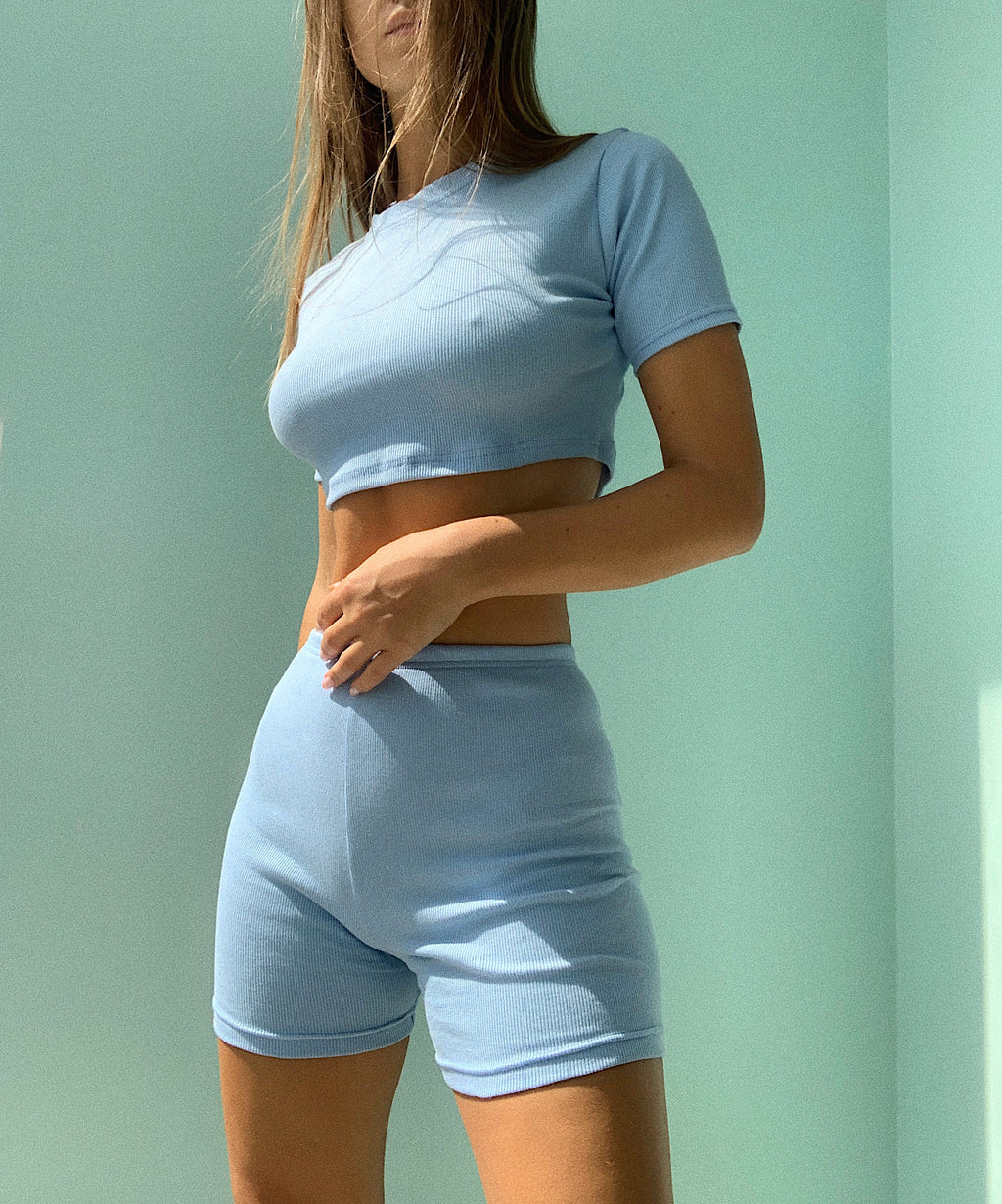 Knitted set (short high waist shorts and crop top) - Okiya Studio | Sleepwear, Homewear, Lingerie, Home Textiles
