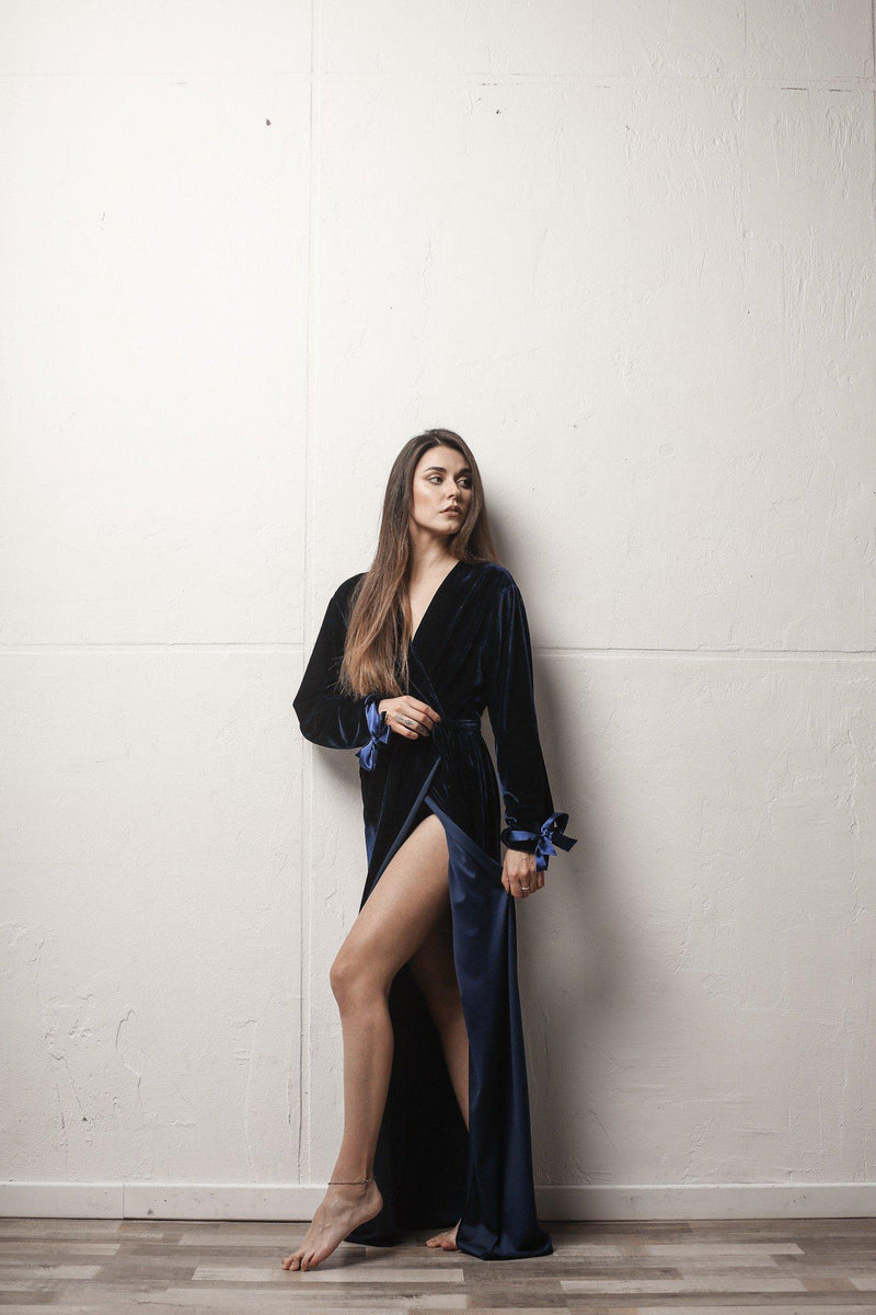 Velour Long Robe with Satin Ties - Okiya Studio | Sleepwear, Homewear, Lingerie, Home Textiles