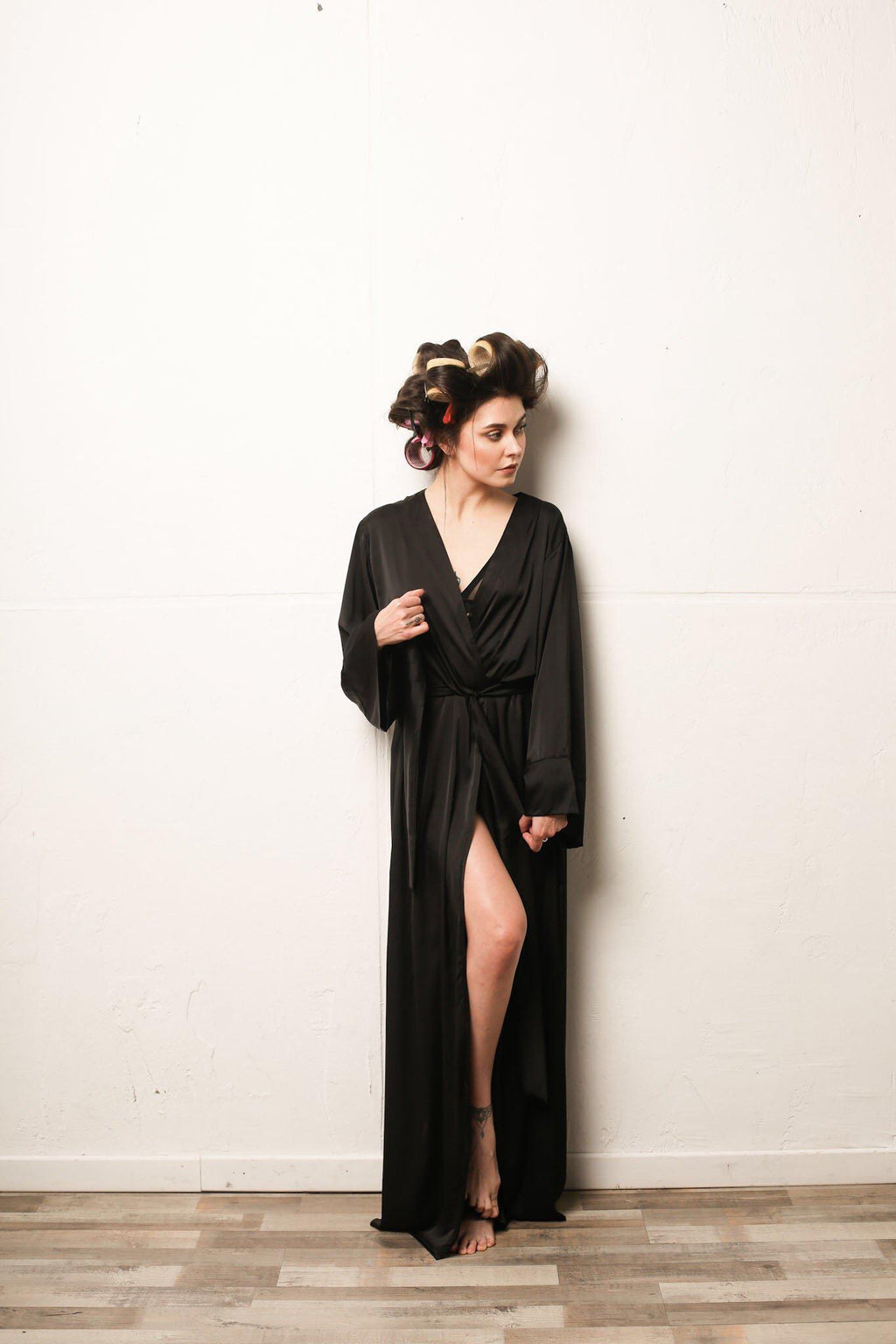 Kimono Silk Long Robe - Okiya Studio | Sleepwear, Homewear, Lingerie, Home Textiles