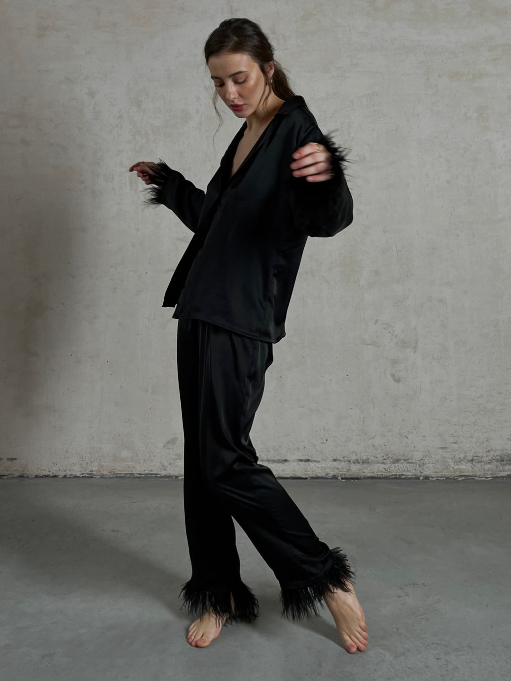 Black silky pajama suit with feathers - Okiya Studio | Sleepwear, Homewear, Lingerie, Home Textiles