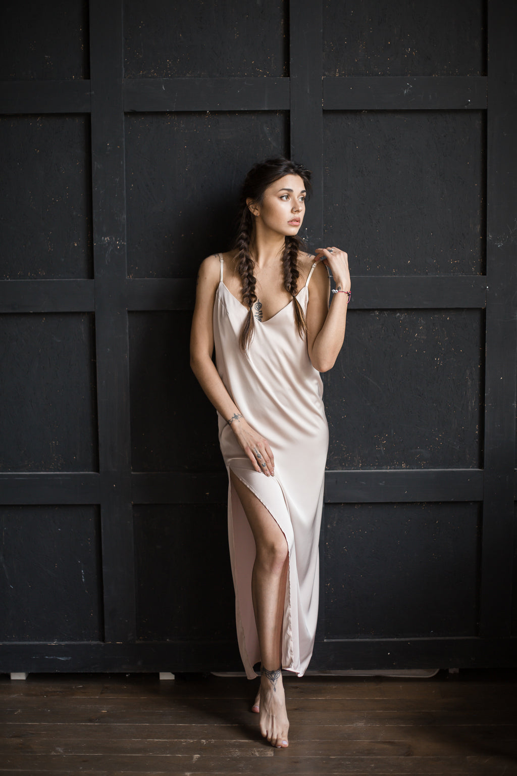 Silk Long Gown with Open Back - Okiya Studio | Sleepwear, Homewear, Lingerie, Home Textiles