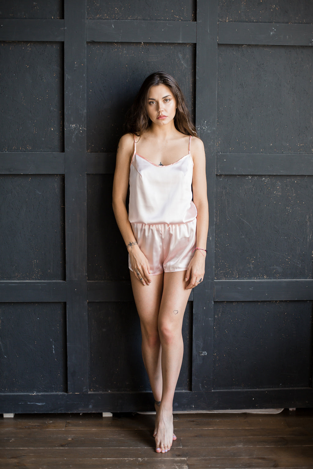 Satin Pajama Set (Top and Shorts) - Okiya Studio | Sleepwear, Homewear, Lingerie, Home Textiles