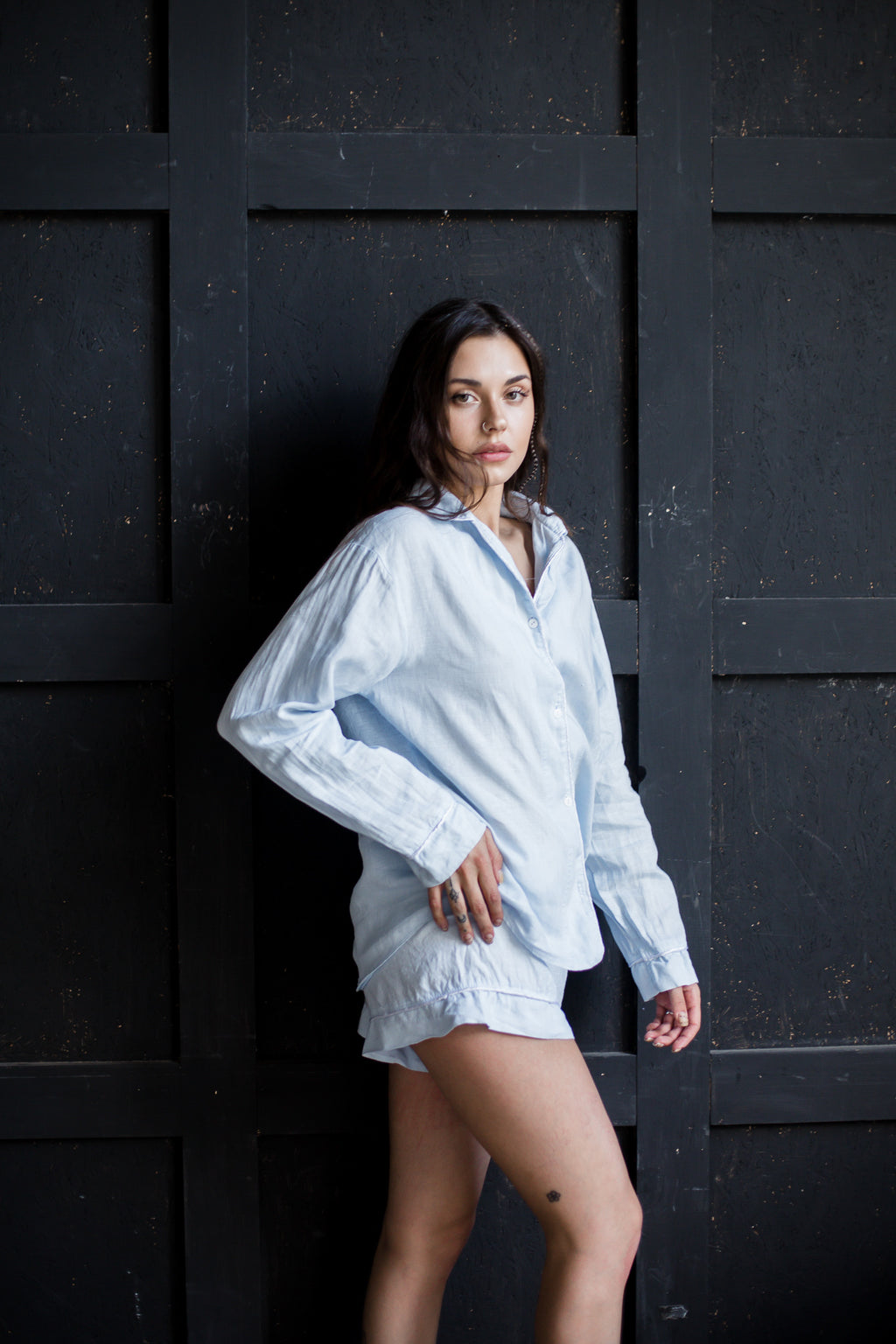 Linen Pajama Set Shirt plus Shorts - Okiya Studio | Sleepwear, Homewear, Lingerie, Home Textiles