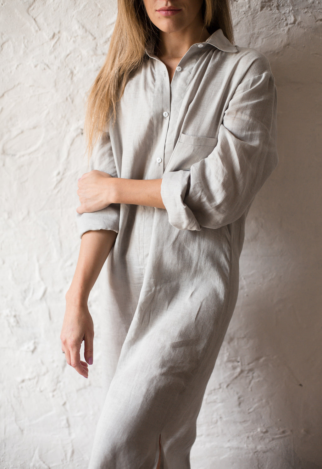 Linen Shirt in Midi Length - Okiya Studio | Sleepwear, Homewear, Lingerie, Home Textiles