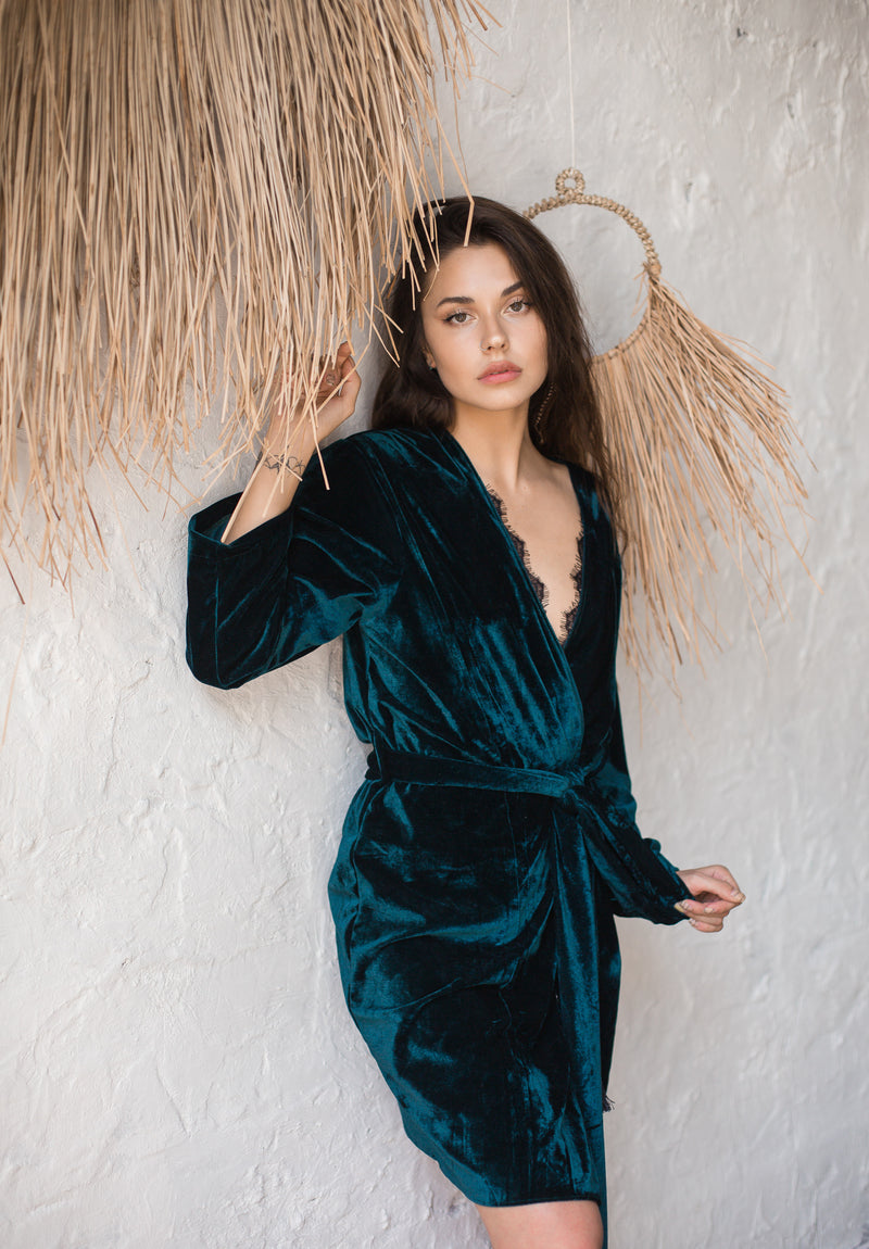 Velour Knee Length Robe - Okiya Studio | Sleepwear, Homewear, Lingerie, Home Textiles