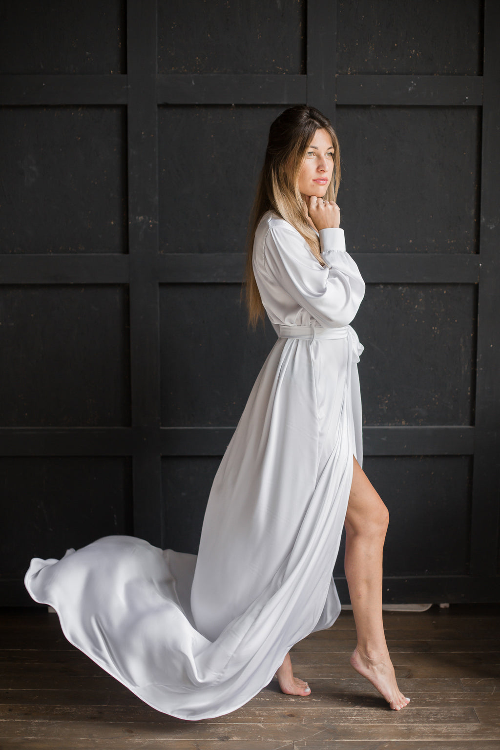 Bridal Silk Robe with Train - Okiya Studio | Sleepwear, Homewear, Lingerie, Home Textiles