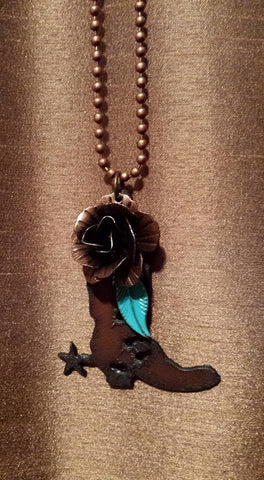 Picture of Rustic Cowboy Boot Pendant Necklace