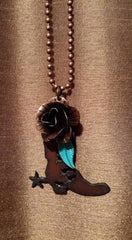 Rustic Cowboy Boot Pendant Necklace