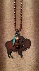 Rustic Buffalo Pendant Necklace