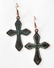Lucky You Burnished Copper Tone & Patina Earrings