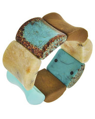 Multi Color Acrylic & Wood Stretch Bracelet
