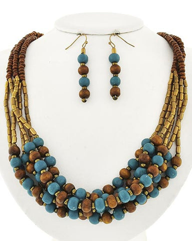 Picture of Burnished Gold Tone Brown & Teal Wood Beaded Necklace Set