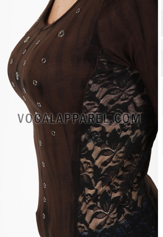 Picture of Long Sleeve  Brown Lace Sides Vocal Shirt