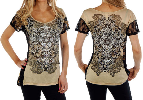 Picture of Racy Lacy Fashion Lace Top in Gold