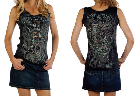 Picture of Cowgirl Mineral Wash Dragon Tank Top Grey